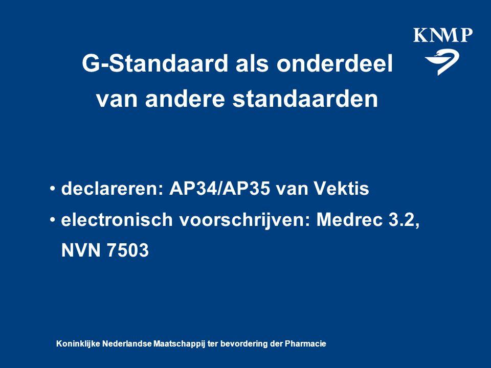 Koninklijke Nederlandse Maatschappij ter bevordering der Pharmacie G-Standaard als onderdeel van andere standaarden declareren: AP34/AP35 van Vektis electronisch voorschrijven: Medrec 3.2, NVN 7503