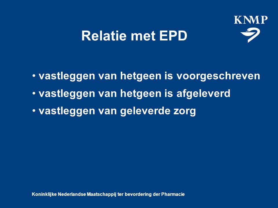 Koninklijke Nederlandse Maatschappij ter bevordering der Pharmacie Relatie met EPD vastleggen van hetgeen is voorgeschreven vastleggen van hetgeen is afgeleverd vastleggen van geleverde zorg