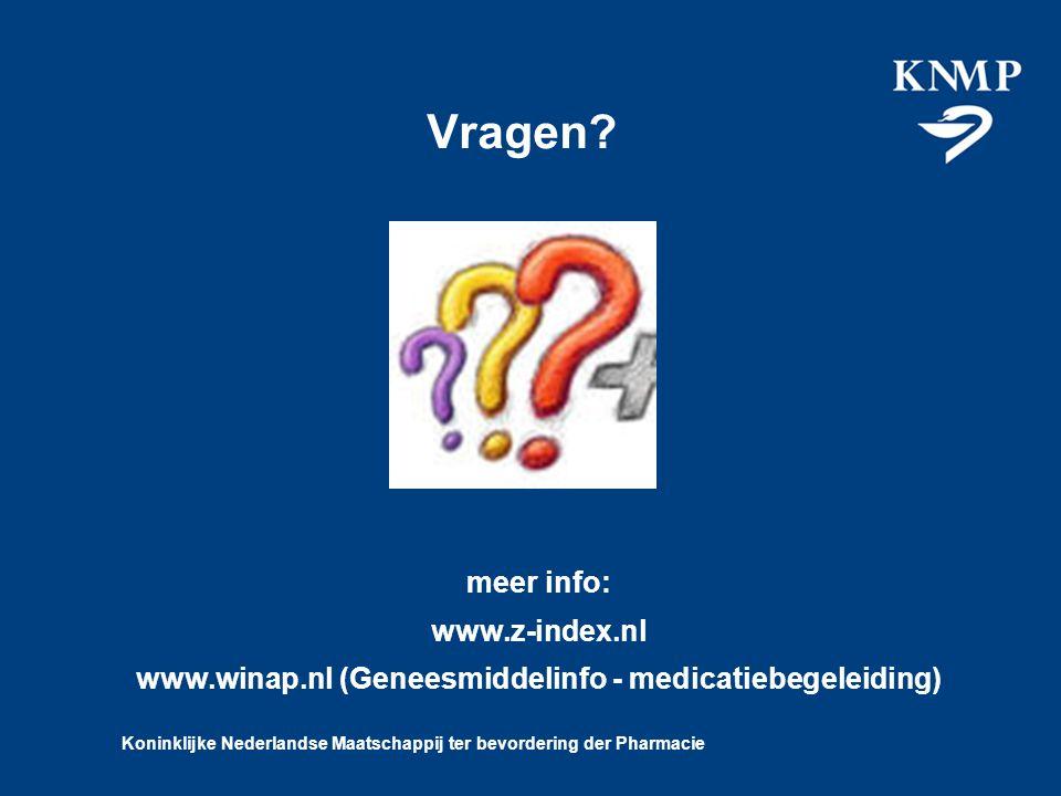 Koninklijke Nederlandse Maatschappij ter bevordering der Pharmacie Vragen.