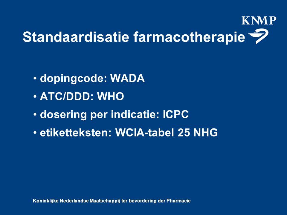 Koninklijke Nederlandse Maatschappij ter bevordering der Pharmacie Standaardisatie farmacotherapie dopingcode: WADA ATC/DDD: WHO dosering per indicatie: ICPC etiketteksten: WCIA-tabel 25 NHG