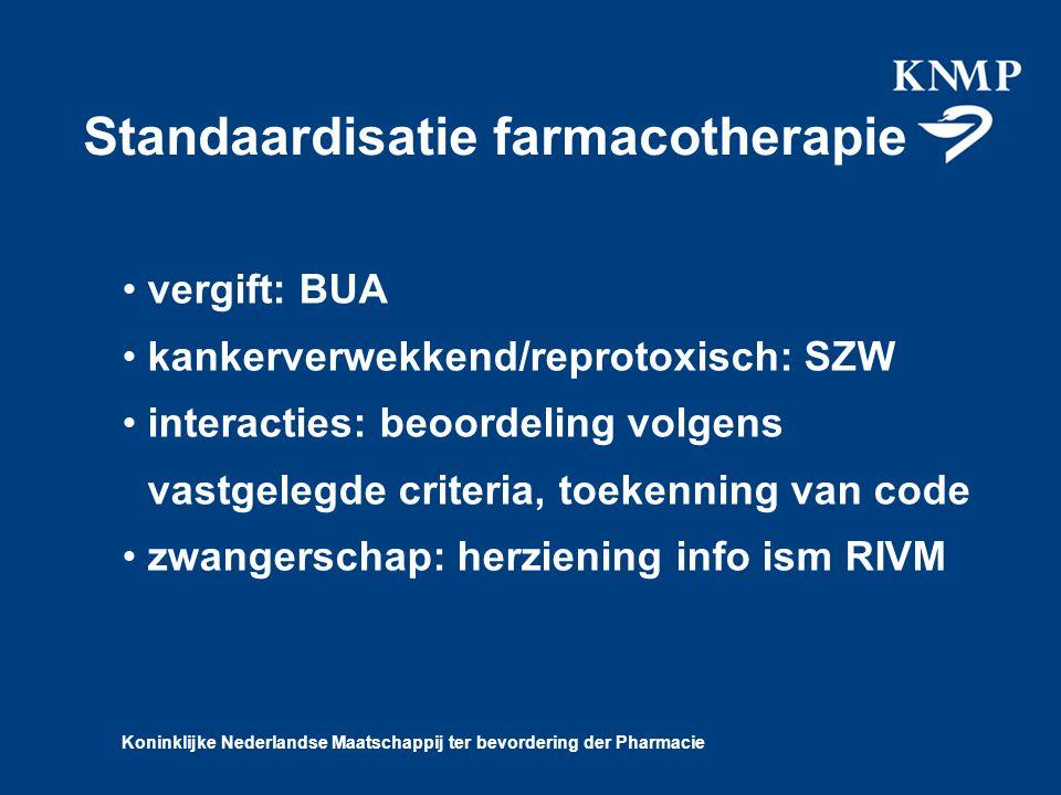 Koninklijke Nederlandse Maatschappij ter bevordering der Pharmacie Standaardisatie farmacotherapie vergift: BUA kankerverwekkend/reprotoxisch: SZW interacties: beoordeling volgens vastgelegde criteria, toekenning van code zwangerschap: herziening info ism RIVM