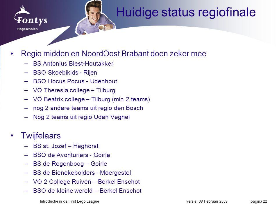 Huidige status regiofinale Regio midden en NoordOost Brabant doen zeker mee –BS Antonius Biest-Houtakker –BSO Skoebikids - Rijen –BSO Hocus Pocus - Udenhout –VO Theresia college – Tilburg –VO Beatrix college – Tilburg (min 2 teams) –nog 2 andere teams uit regio den Bosch –Nog 2 teams uit regio Uden Veghel Twijfelaars –BS st.