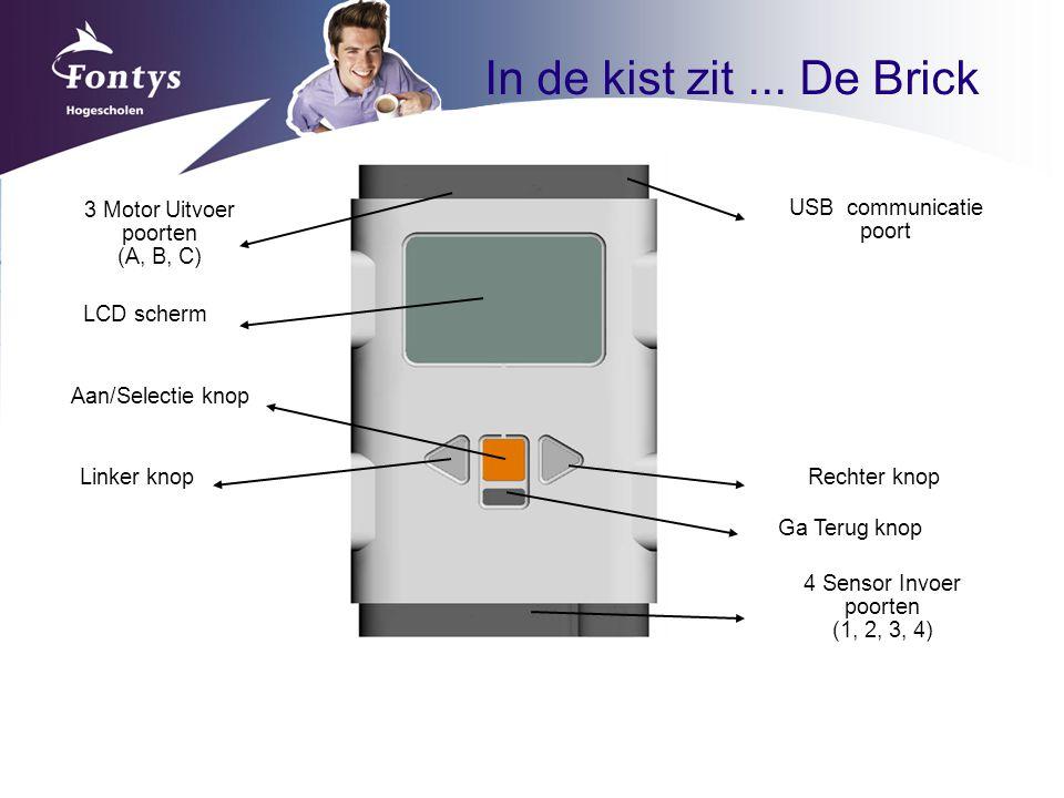 3 Motor Uitvoer poorten (A, B, C) 4 Sensor Invoer poorten (1, 2, 3, 4) Ga Terug knop Rechter knop Aan/Selectie knop LCD scherm USB communicatie poort In de kist zit...