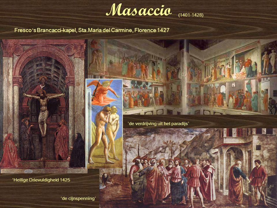 Masaccio ' de cijnspenning ' ' Heilige Drievuldigheid 1425 (1401-1428) ' de verdrijving uit het paradijs ' Fresco ' s Brancacci-kapel, Sta.Maria del C