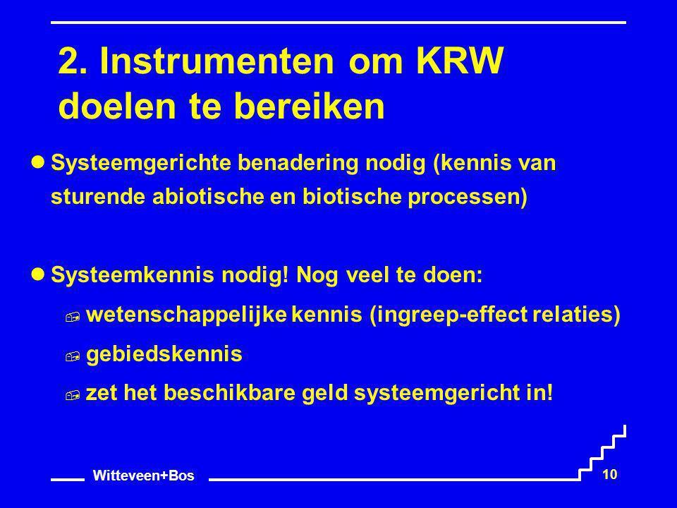 Witteveen+Bos 10 2. Instrumenten om KRW doelen te bereiken Systeemgerichte benadering nodig (kennis van sturende abiotische en biotische processen) Sy
