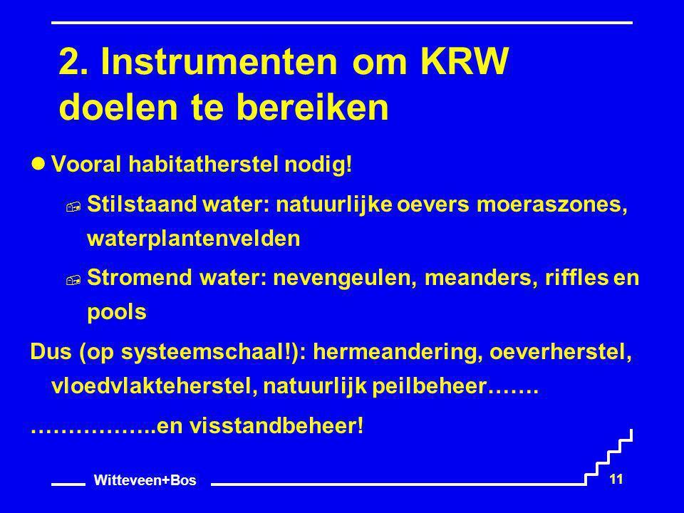 Witteveen+Bos 11 2. Instrumenten om KRW doelen te bereiken Vooral habitatherstel nodig!  Stilstaand water: natuurlijke oevers moeraszones, waterplant