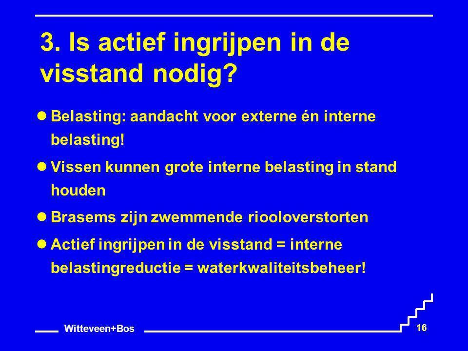 Witteveen+Bos 16 3. Is actief ingrijpen in de visstand nodig? Belasting: aandacht voor externe én interne belasting! Vissen kunnen grote interne belas