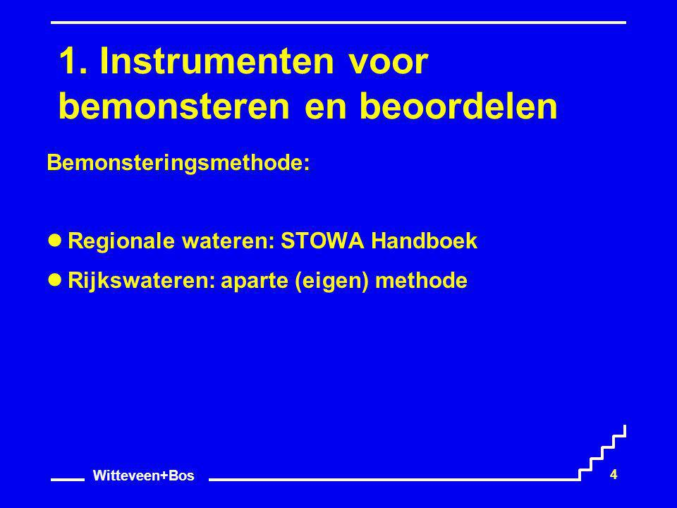 Witteveen+Bos 4 1. Instrumenten voor bemonsteren en beoordelen Bemonsteringsmethode: Regionale wateren: STOWA Handboek Rijkswateren: aparte (eigen) me