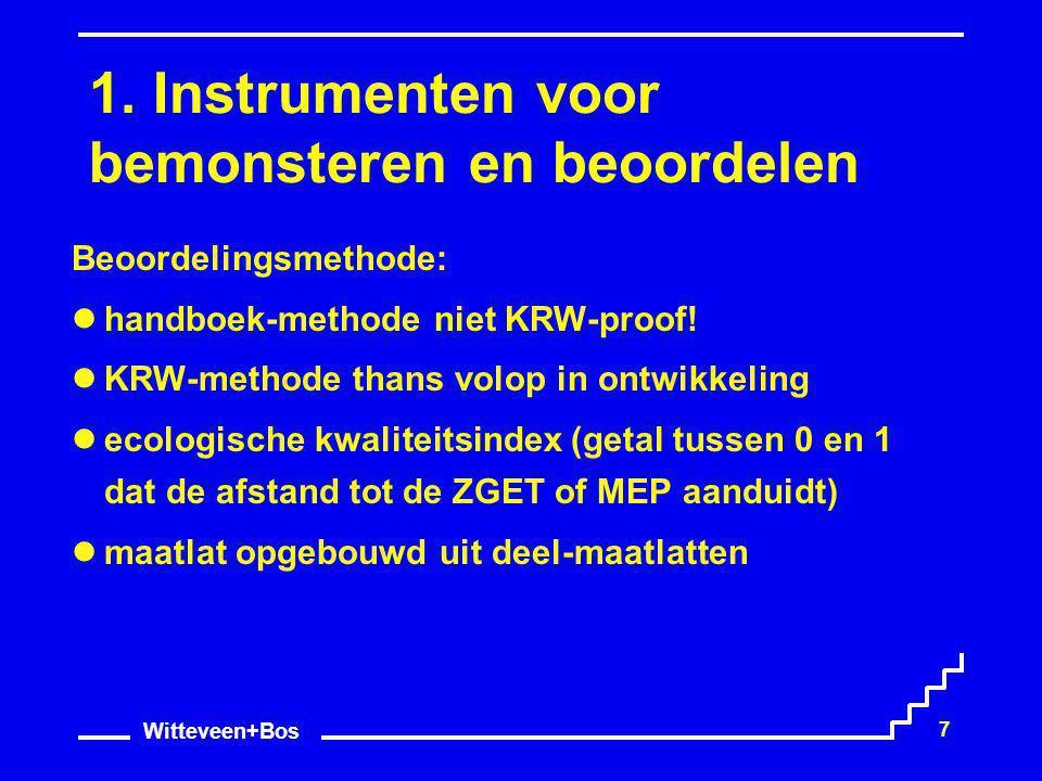 Witteveen+Bos 7 1. Instrumenten voor bemonsteren en beoordelen Beoordelingsmethode: handboek-methode niet KRW-proof! KRW-methode thans volop in ontwik