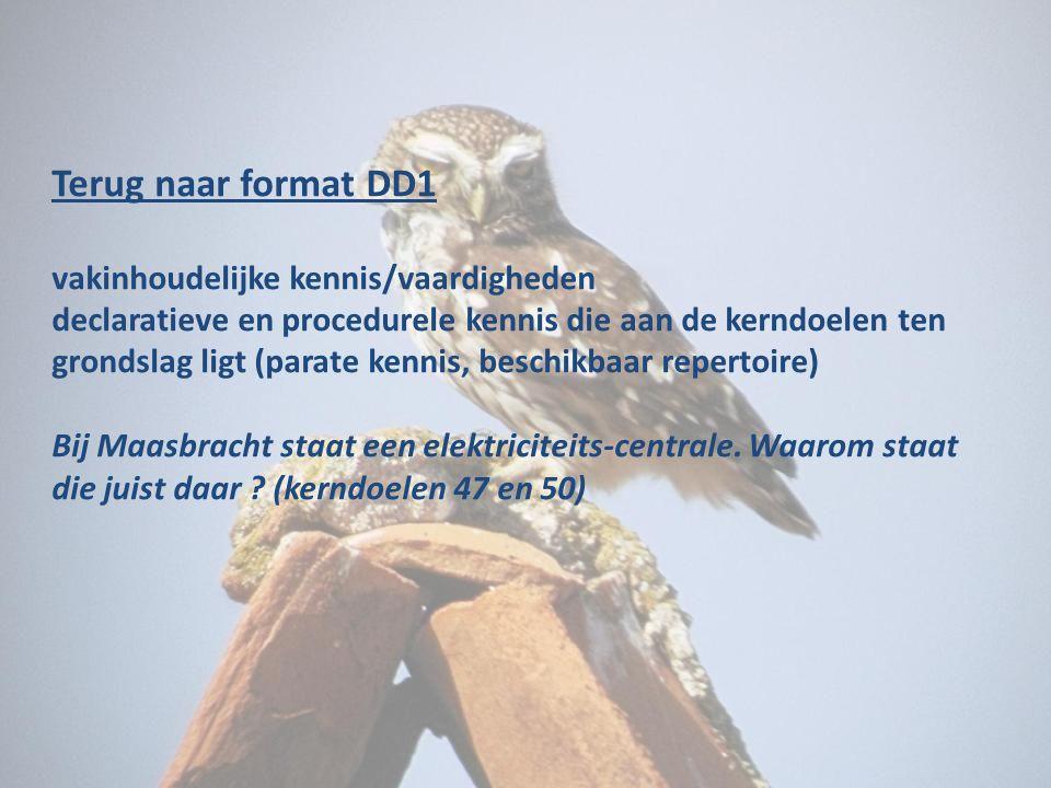 Terug naar format DD1 vakinhoudelijke kennis/vaardigheden declaratieve en procedurele kennis die aan de kerndoelen ten grondslag ligt (parate kennis,