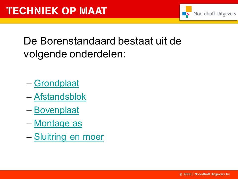 © 2008 | Noordhoff Uitgevers bv De Borenstandaard bestaat uit de volgende onderdelen: –GrondplaatGrondplaat –AfstandsblokAfstandsblok –BovenplaatBoven