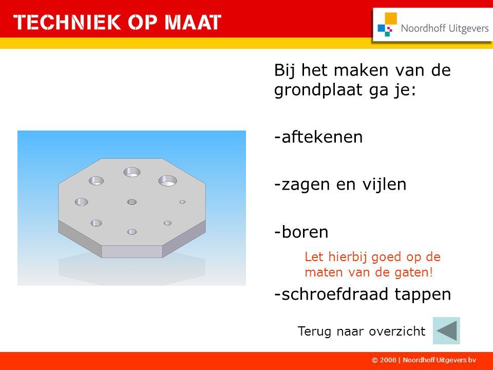 © 2008 | Noordhoff Uitgevers bv Bij het maken van de grondplaat ga je: -aftekenen -zagen en vijlen -boren Let hierbij goed op de maten van de gaten.