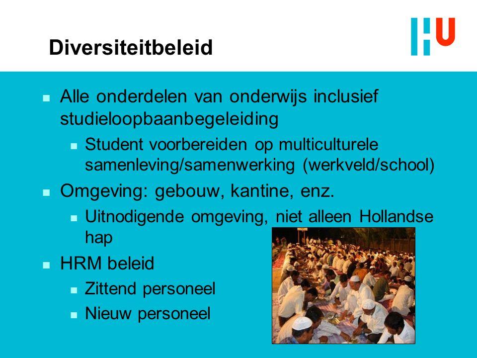 Diversiteitbeleid n Alle onderdelen van onderwijs inclusief studieloopbaanbegeleiding n Student voorbereiden op multiculturele samenleving/samenwerkin