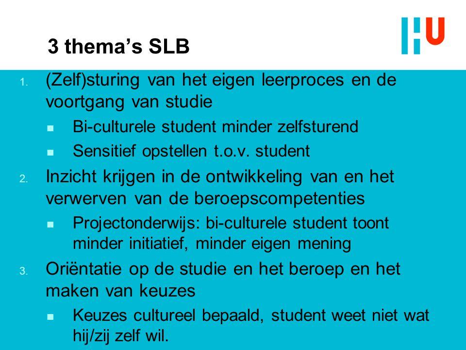3 thema's SLB 1. (Zelf)sturing van het eigen leerproces en de voortgang van studie n Bi-culturele student minder zelfsturend n Sensitief opstellen t.o