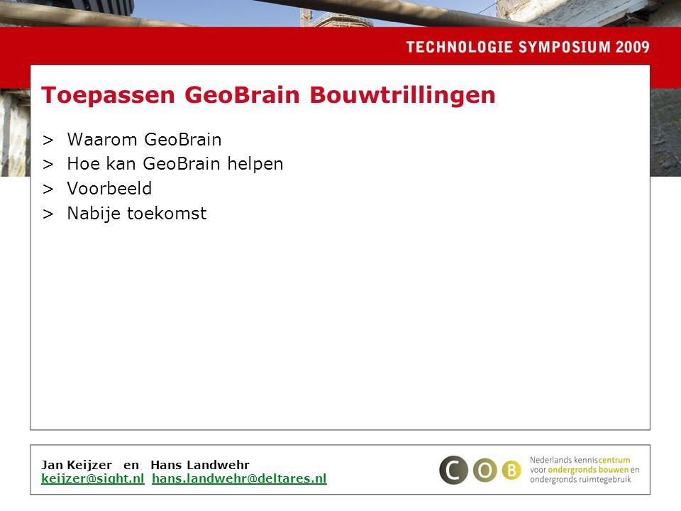 Jan Keijzer en Hans Landwehr keijzer@sight.nlkeijzer@sight.nl hans.landwehr@deltares.nlhans.landwehr@deltares.nl Toepassen GeoBrain Bouwtrillingen >Waarom GeoBrain >Hoe kan GeoBrain helpen >Voorbeeld >Nabije toekomst
