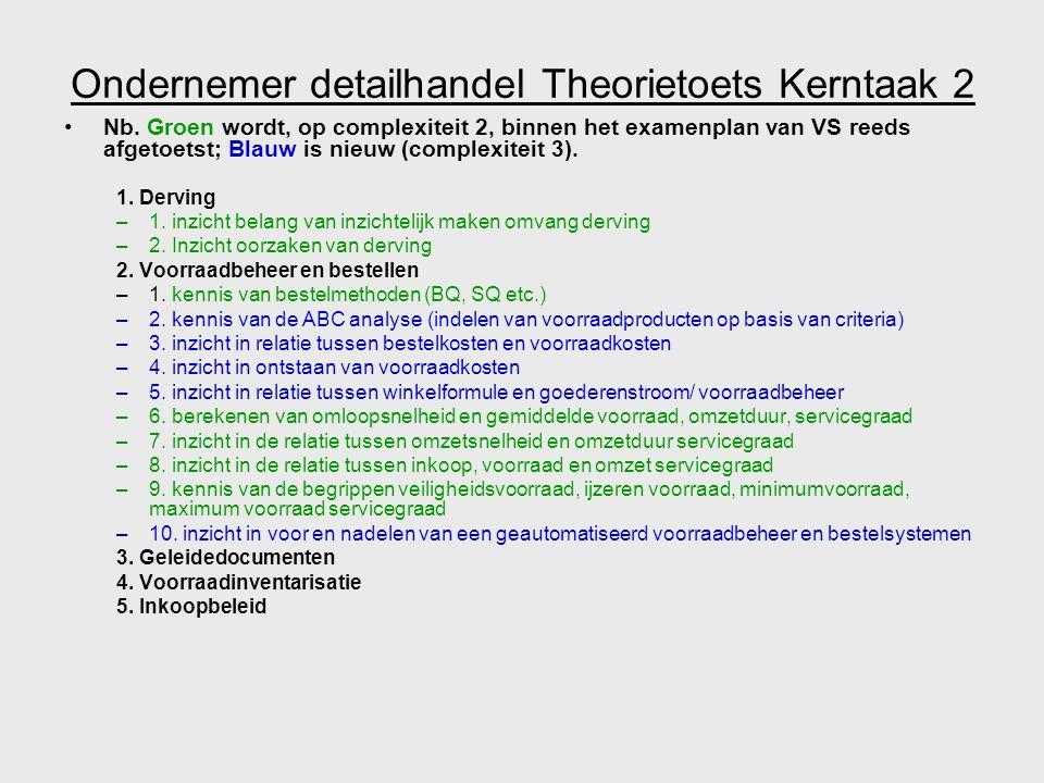 Ondernemer detailhandel Theorietoets Kerntaak 2 Nb. Groen wordt, op complexiteit 2, binnen het examenplan van VS reeds afgetoetst; Blauw is nieuw (com