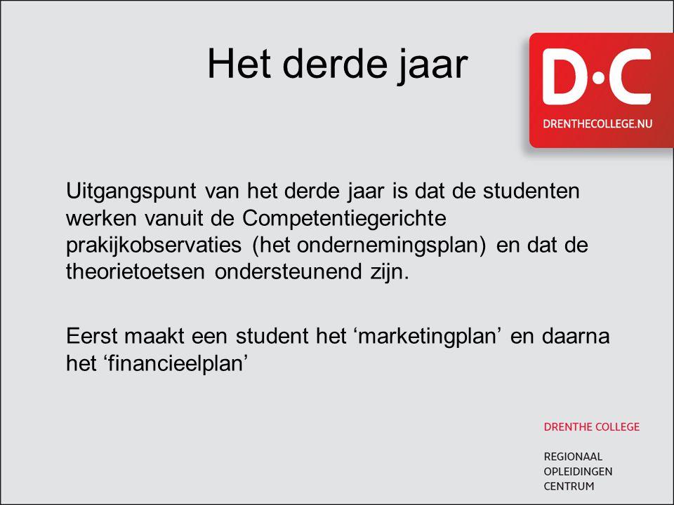 Het derde jaar Uitgangspunt van het derde jaar is dat de studenten werken vanuit de Competentiegerichte prakijkobservaties (het ondernemingsplan) en d