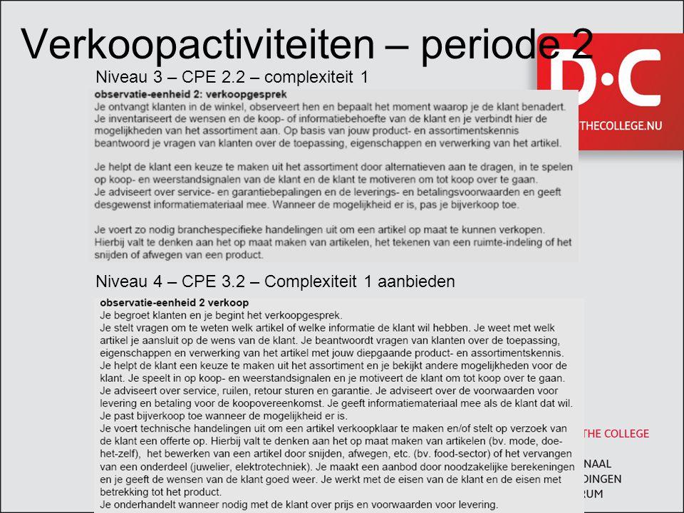 Verkoopactiviteiten – periode 2 Niveau 3 – CPE 2.2 – complexiteit 1 Niveau 4 – CPE 3.2 – Complexiteit 1 aanbieden