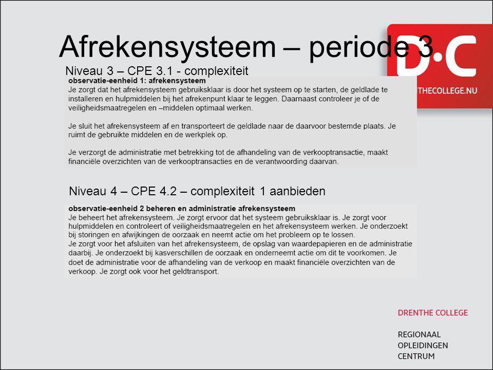 Afrekensysteem – periode 3 Niveau 3 – CPE 3.1 - complexiteit Niveau 4 – CPE 4.2 – complexiteit 1 aanbieden
