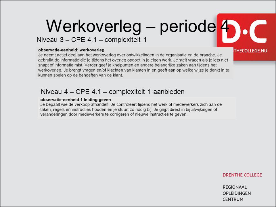 Werkoverleg – periode 4 Niveau 3 – CPE 4.1 – complexiteit 1 Niveau 4 – CPE 4.1 – complexiteit 1 aanbieden
