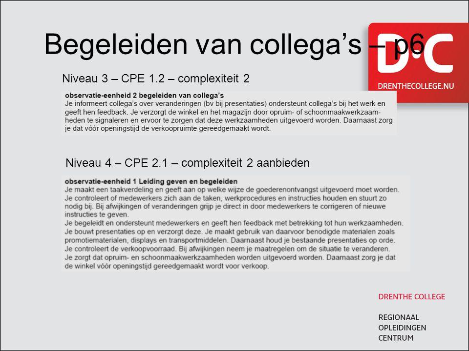 Begeleiden van collega's – p6 Niveau 3 – CPE 1.2 – complexiteit 2 Niveau 4 – CPE 2.1 – complexiteit 2 aanbieden