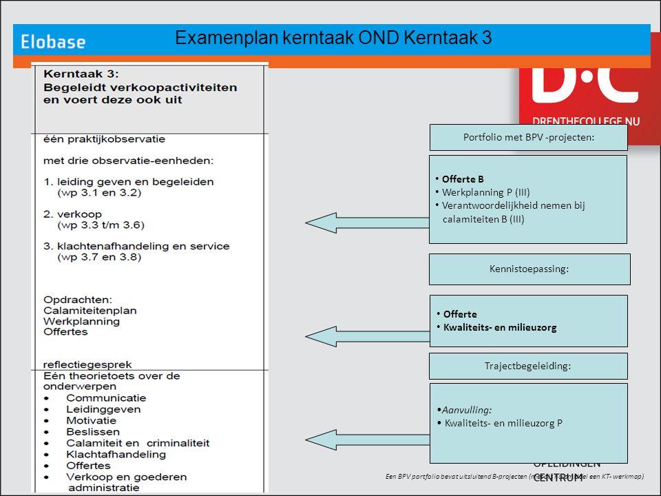 Examenplan kerntaak OND Kerntaak 3 Een BPV portfolio bevat uitsluitend B-projecten (met als hulpmiddel een KT- werkmap) Aanvulling: Kwaliteits- en mil
