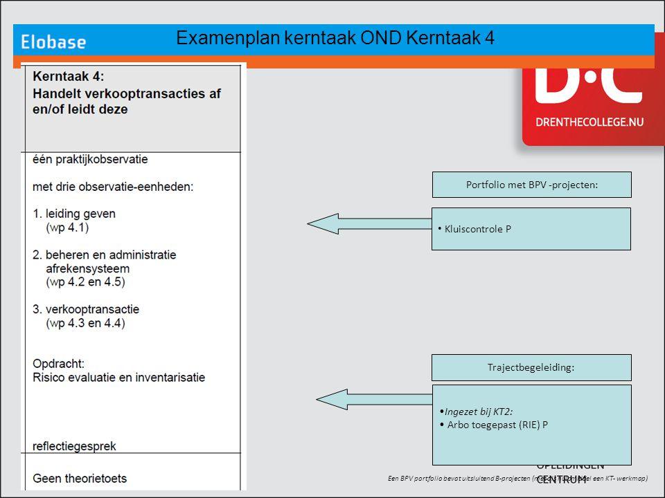 Examenplan kerntaak OND Kerntaak 4 Een BPV portfolio bevat uitsluitend B-projecten (met als hulpmiddel een KT- werkmap) Ingezet bij KT2: Arbo toegepas