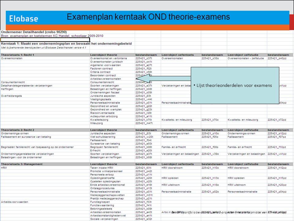 Examenplan kerntaak OND theorie-examens Een BPV portfolio bevat uitsluitend B-projecten (met als hulpmiddel een KT- werkmap) Lijst theorieonderdelen v