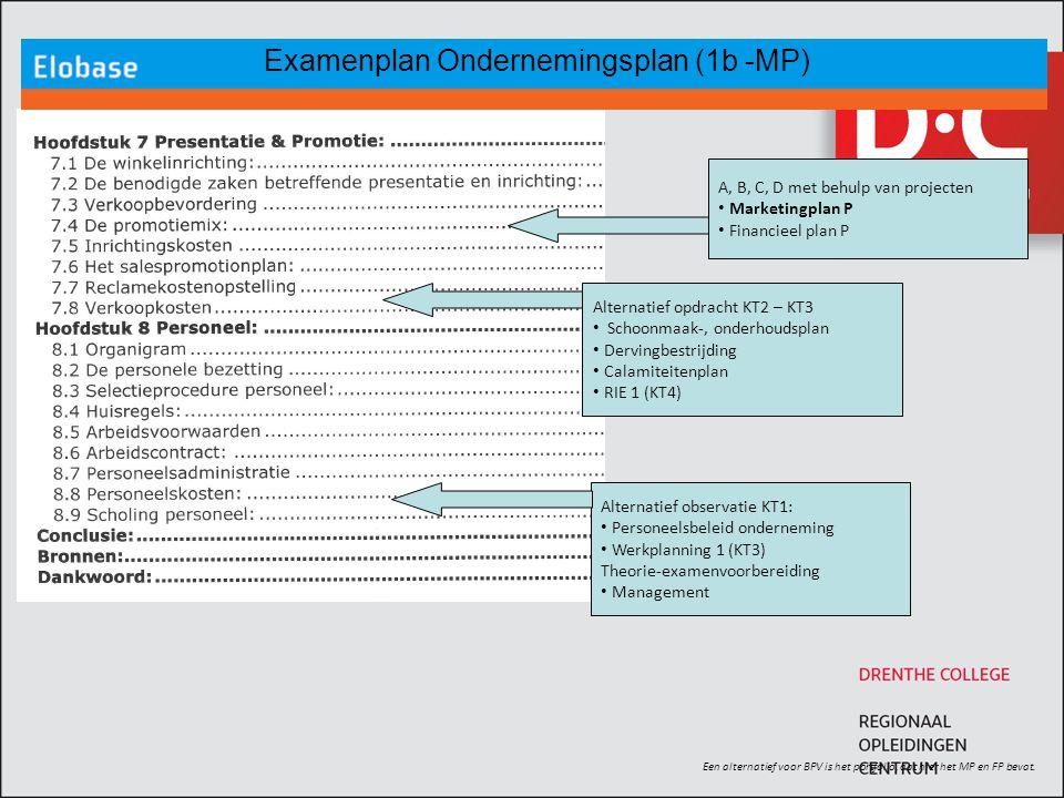 Examenplan Ondernemingsplan (1b -MP) Een alternatief voor BPV is het portfolio, dat hier het MP en FP bevat. Alternatief opdracht KT2 – KT3 Schoonmaak