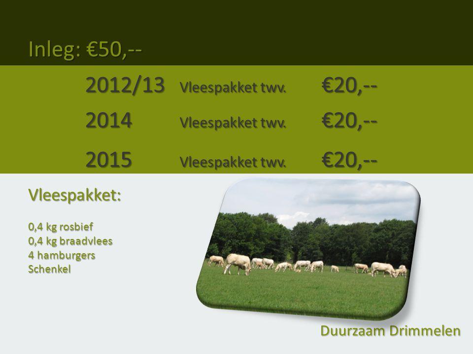 Inleg: €50,-- 2012/13 Vleespakket twv. €20,-- 2014 Vleespakket twv.
