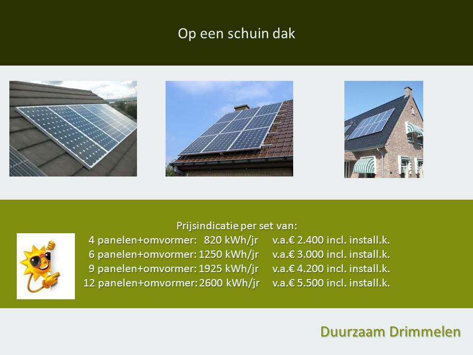 Op een schuin dak Prijsindicatie per set van: 4 panelen+omvormer: 820 kWh/jrv.a.€ 2.400 incl.