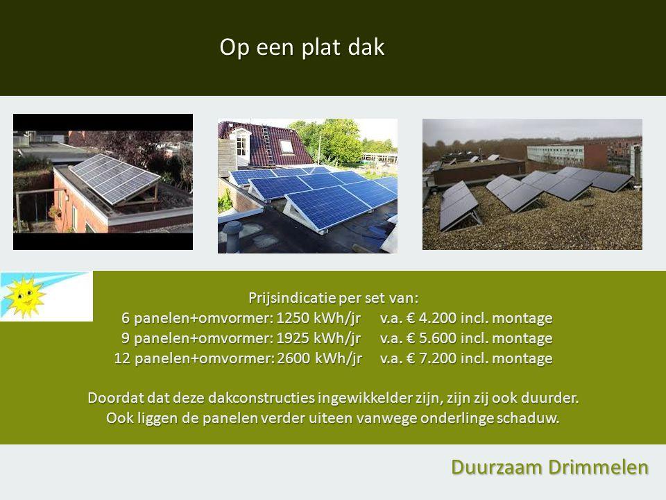 Prijsindicatie per set van: 6 panelen+omvormer: 1250 kWh/jr v.a.