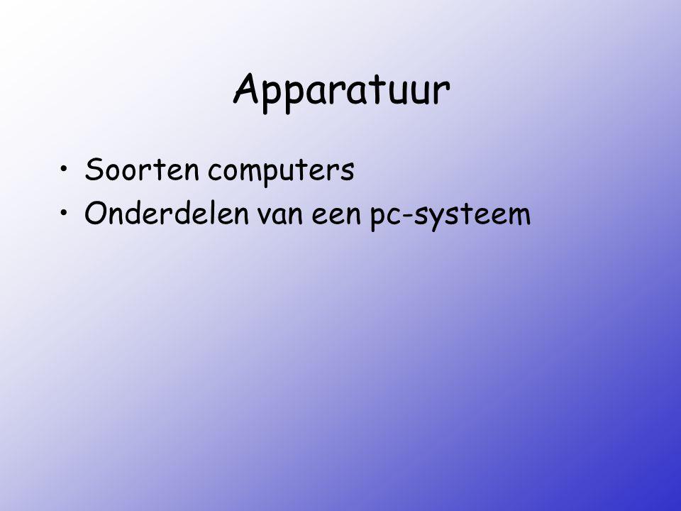 Apparatuur Soorten computers Onderdelen van een pc-systeem