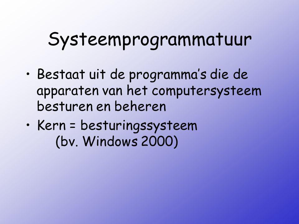 Systeemprogrammatuur Bestaat uit de programma's die de apparaten van het computersysteem besturen en beheren Kern = besturingssysteem (bv. Windows 200