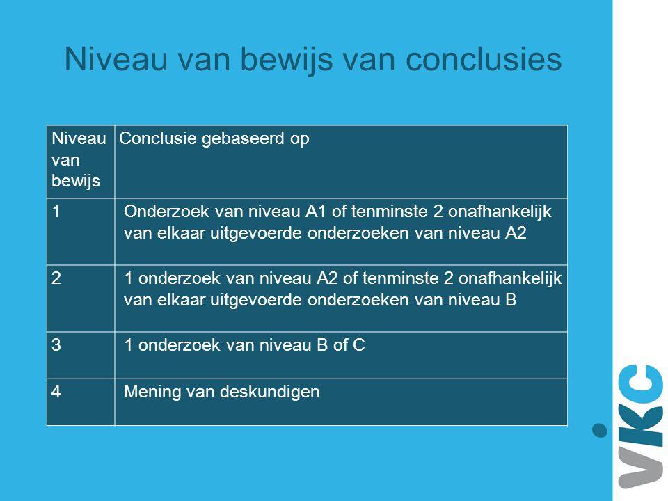 Niveau van bewijs Conclusie gebaseerd op 1 Onderzoek van niveau A1 of tenminste 2 onafhankelijk van elkaar uitgevoerde onderzoeken van niveau A2 2 1 o