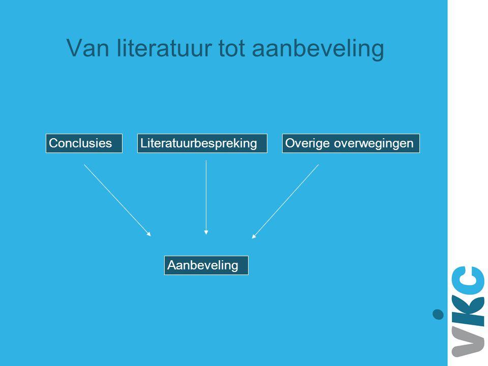 ConclusiesLiteratuurbesprekingOverige overwegingen Aanbeveling Van literatuur tot aanbeveling