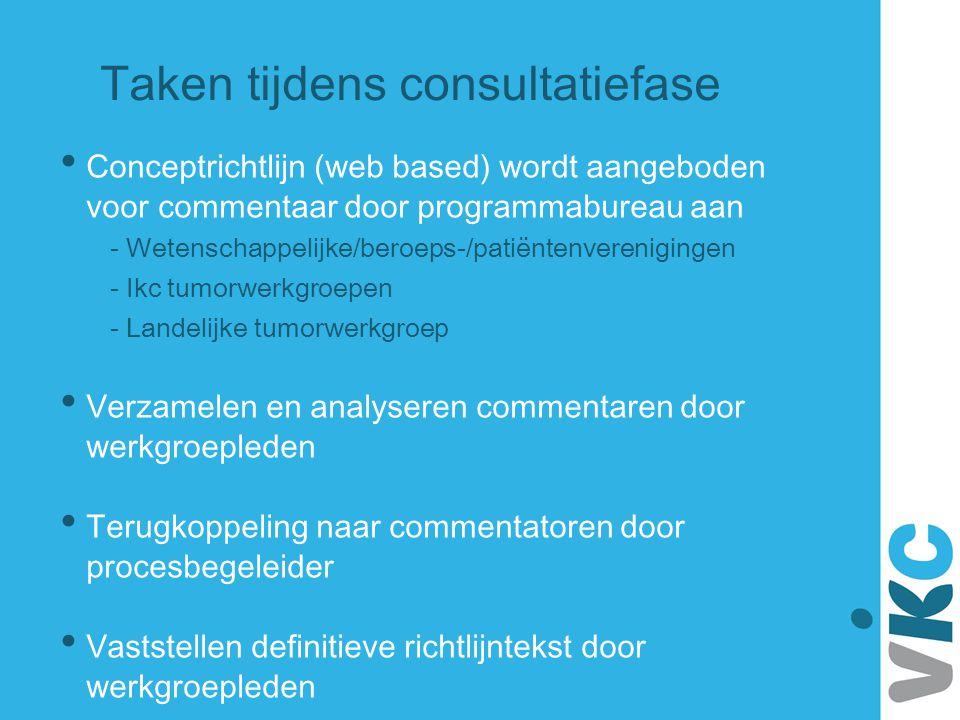 Taken tijdens consultatiefase Conceptrichtlijn (web based) wordt aangeboden voor commentaar door programmabureau aan - Wetenschappelijke/beroeps-/pati