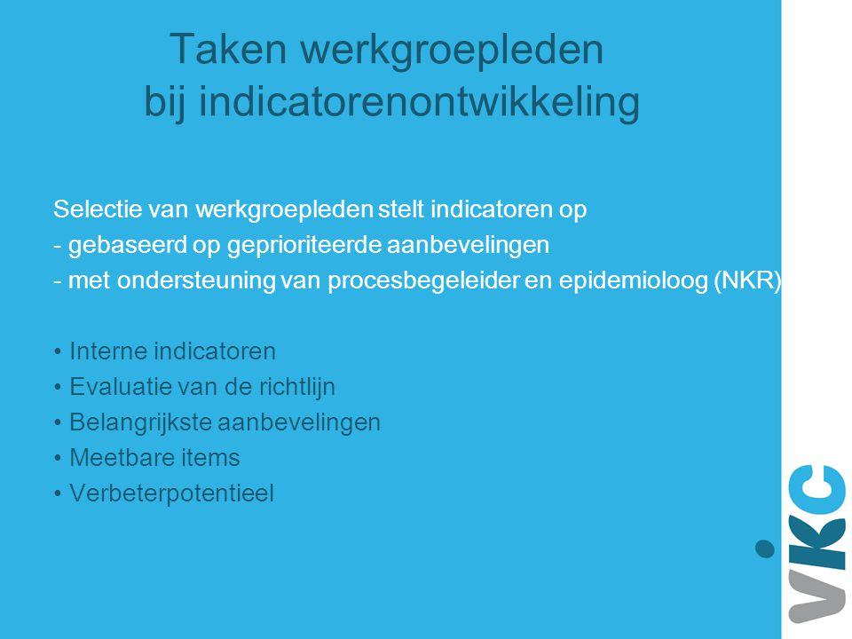 Taken werkgroepleden bij indicatorenontwikkeling Selectie van werkgroepleden stelt indicatoren op - gebaseerd op geprioriteerde aanbevelingen - met on
