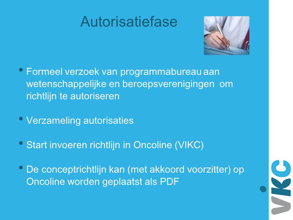 Autorisatiefase Formeel verzoek van programmabureau aan wetenschappelijke en beroepsverenigingen om richtlijn te autoriseren Verzameling autorisaties