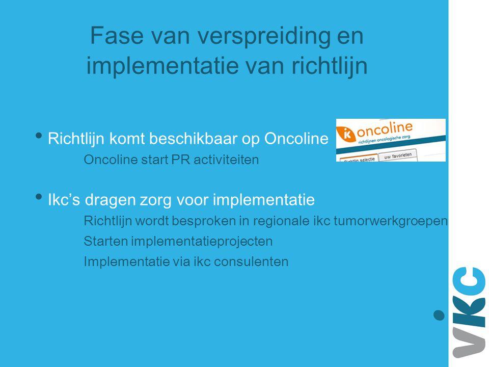 Fase van verspreiding en implementatie van richtlijn Richtlijn komt beschikbaar op Oncoline Oncoline start PR activiteiten Ikc's dragen zorg voor impl