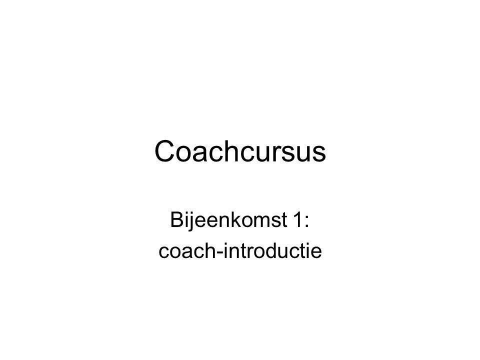 Coachcursus Bijeenkomst 1: coach-introductie
