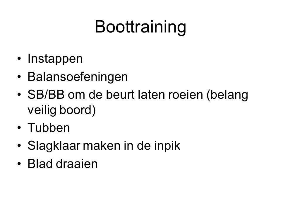 Boottraining Instappen Balansoefeningen SB/BB om de beurt laten roeien (belang veilig boord) Tubben Slagklaar maken in de inpik Blad draaien