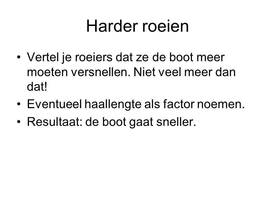 Harder roeien Vertel je roeiers dat ze de boot meer moeten versnellen. Niet veel meer dan dat! Eventueel haallengte als factor noemen. Resultaat: de b