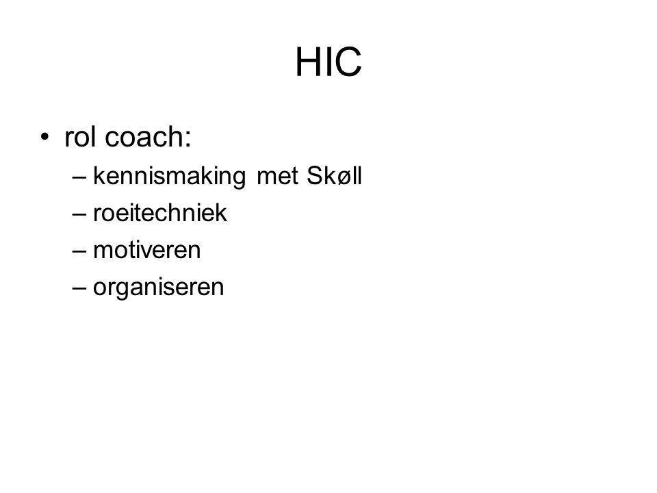 HIC rol coach: –kennismaking met Skøll –roeitechniek –motiveren –organiseren