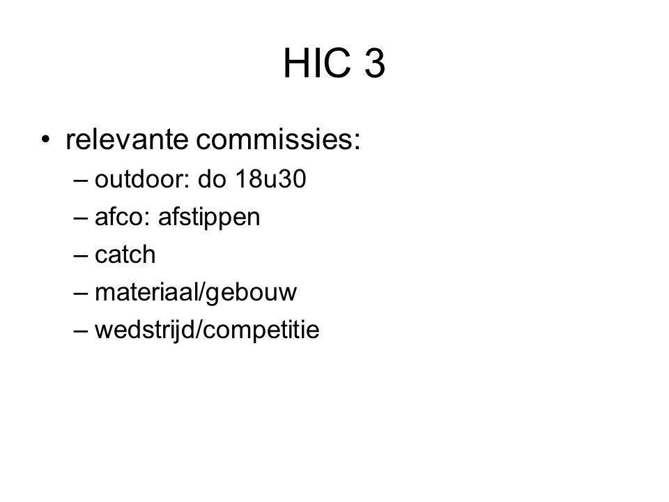 HIC 3 relevante commissies: –outdoor: do 18u30 –afco: afstippen –catch –materiaal/gebouw –wedstrijd/competitie