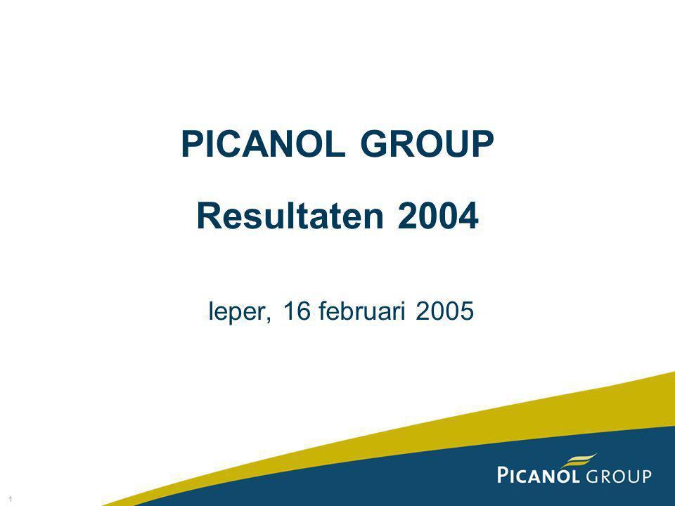 1 PICANOL GROUP Resultaten 2004 Ieper, 16 februari 2005