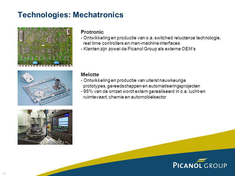 11 Technologies: Mechatronics Protronic - Ontwikkeling en productie van o.a. switched reluctance technologie, real time controllers en man-machine int