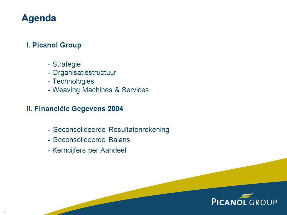 2 I. Picanol Group - Strategie - Organisatiestructuur - Technologies - Weaving Machines & Services II. Financiële Gegevens 2004 - Geconsolideerde Resu