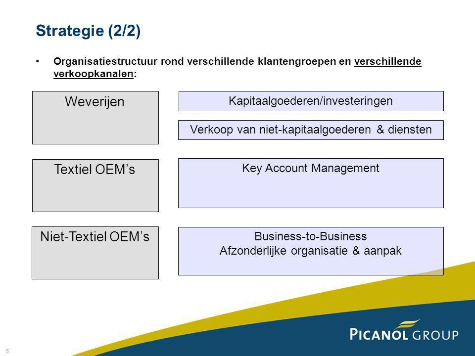 5 Strategie (2/2) Organisatiestructuur rond verschillende klantengroepen en verschillende verkoopkanalen: Weverijen Textiel OEM's Niet-Textiel OEM's Kapitaalgoederen/investeringen Verkoop van niet-kapitaalgoederen & diensten Key Account Management Business-to-Business Afzonderlijke organisatie & aanpak