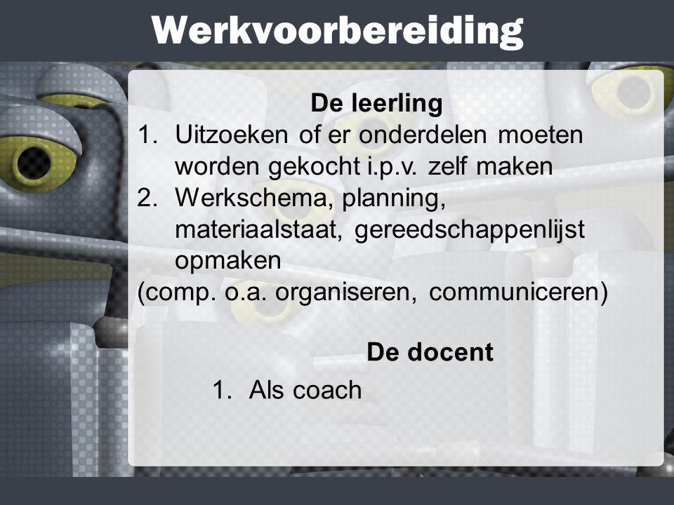 Werkvoorbereiding De docent 1.Als coach De leerling 1.Uitzoeken of er onderdelen moeten worden gekocht i.p.v.